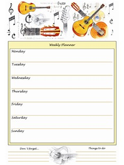 Little Snoring Gifts: A4 Weekly Planner - Guitar Design  |