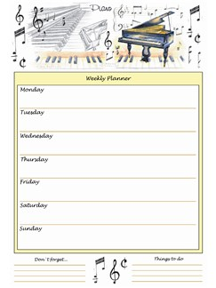 Little Snoring Gifts: A4 Weekly Planner - Piano Design  |