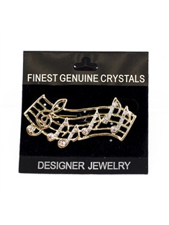 Brooch: Music Notes - Clear Crystals/Gold Finish  |