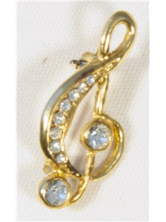 Brooch: Small Treble Clef - Clear Crystals/Gold Finish  |