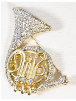 Brooch: French Horn - Clear Crystals/Gold Finish  |