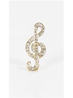 Brooch: Bold Treble Clef - Clear Crystals/Gold Finish  |