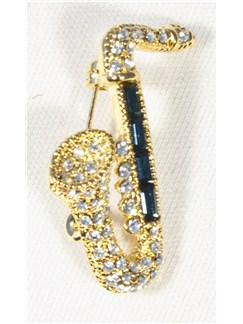 Brooch: Tenor Saxophone - Clear And Blue Crystals/Gold Finish  |
