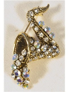 Brooch: Bubbles Saxophone - Clear Crystals/Pewter Finish  |