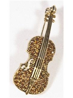 Brooch: Violin - Red Crystals/Gold Finish  |