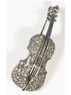 Brooch: Violin - Clear Crystals/Pewter Finish  |