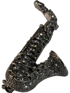 Brooch: Alto Saxophone - Grey Crystals/Black Finish  |