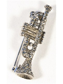 Brooch: Trumpet - Clear Crystals/Silver Finish  |