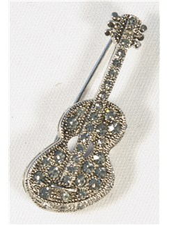 Brooch: Acoustic Guitar - Clear Crystals/Silver Finish  |