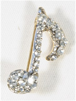 Brooch: Single Quaver - Clear Crystals/Silver Finish  |