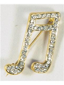 Brooch: Semi-Quavers - Clear Crystals/Gold Finish   