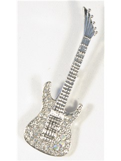 Brooch: Electric Guitar - Clear Crystals/Silver Finish  |