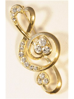 Brooch: Heart Treble Clef - Clear Crystals/Gold Finish  |