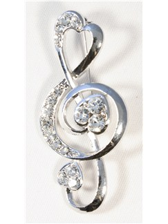 Brooch: Heart Treble Clef - Clear Crystals/Silver Finish  |