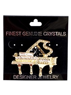 Brooch: Large Piano - Clear Crystals/Gold Finish  |