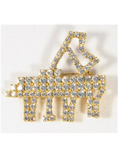 Brooch: Large Piano - Clear Crystals  |
