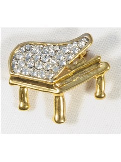 Brooch: Small Piano - Clear Crystals/Gold Finish  |