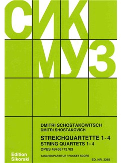 Shostakovitch,Dmitri: String Quartets 1-4 - Study Score Books | String Quartet