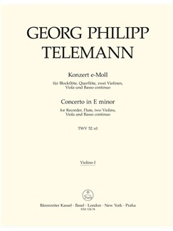 G. P. Telemann: Concerto For Recorder And Flute In E Minor (Violin I) Books | Violin