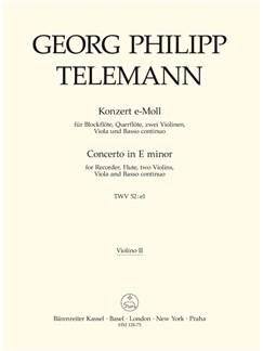 G. P. Telemann: Concerto For Recorder And Flute In E Minor (Violin II) Books | Violin