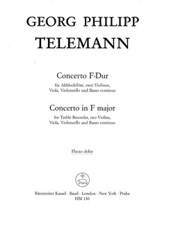 G. P. Telemann: Concerto For Treble Recorder In F (Recorder Solo) Books | Alto (Treble) Recorder