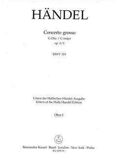 G.F. Handel: Concerto Grosso In G Major Op.6 No.1 (Oboe 1 Part) Books   Oboe