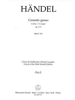 G.F. Handel: Concerto Grosso In G Major Op.6 No.1 (Oboe 2 Part) Books | Oboe