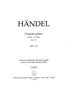 G.F. Handel: Concerto Grosso In G Major Op.6 No.1 (Cembalo) Books | Harpsichord