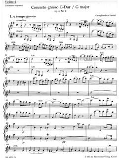 G.F. Handel: Concerto Grosso In G Major Op.6 No.1 (Violin 1 Solo And Ripieno) Books | Violin