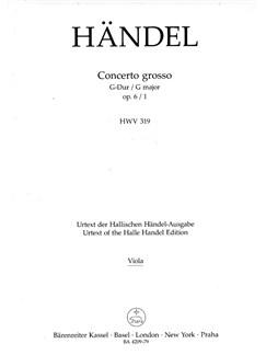 G.F. Handel: Concerto Grosso In G Major Op.6 No.1 (Viola Part) Books | Viola