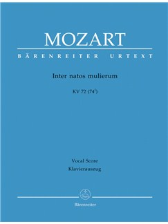 W. A. Mozart: Inter Natos Mulierum K.72 (Vocal Score) Books | Orchestra