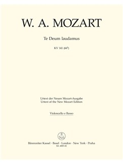 W. A. Mozart: Te Deum Laudamus In C K.141 (Cello/Bass/Bassoon) Books | Orchestra