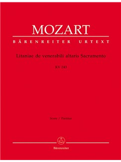 Wolfgang Amadeus Mozart: Litaniae De Venerabili Altaris Sacramento In E-Flat (K.243) (Urtext) (Full Score) Books | Orchestra, SATB