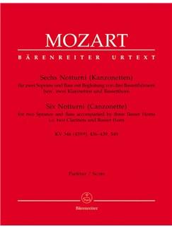 Wolfgang Amadeus Mozart: Notturni (6) (Canzonettas) (K.346 (439a), 436-439, 549) (Urtext) (Full Score) Books | Soprano, Ensemble