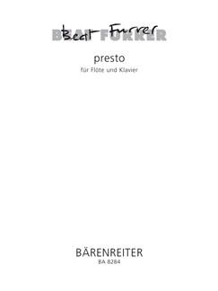 B. Furrer: Presto For Flute & Piano Books | Flute, Piano
