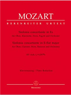 W. A. Mozart: Sinfonia Concertante For Oboe, Clarinet, Horn, Bassoon In E Flat K.Anh.1,9 (297b) (Solo Parts/Piano) Books | Wind Instruments, Piano Accompaniment
