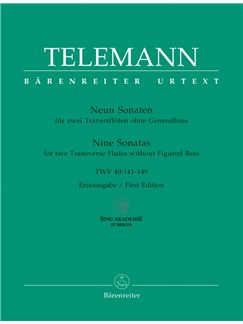 G. P. Telemann: 9 Sonatas For 2 Flutes Without Bass TWV 40: 141-149 Books | Flute