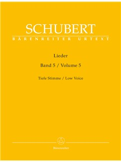 Franz Schubert: Lieder Volume 5 - Low Voice (Barenreiter Urtext) Books | Low Voice, Piano Accompaniment
