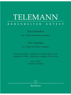G.P. Telemann: Sonata In F TWV 41: F4 / Sonata In A TWV 41: A6 (Urtext) Books | Violin, Piano Accompaniment