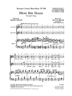 May H. Brahe: Bless This House (SA) Books | 2-Part Choir with Piano Accompaniment