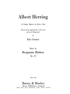 Benjamin Britten: Albert Herring Op.39 Books | Opera
