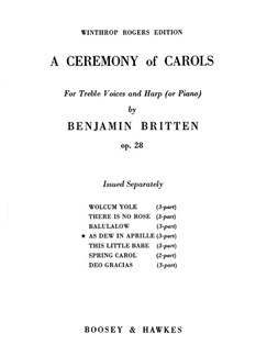 Benjamin Britten: As Dew In Aprille (3-Part Treble) Books | Treble (Trio), Piano Accompaniment