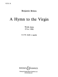 Benjamin Britten: A Hymn To The Virgin (SATB) Books | SATB