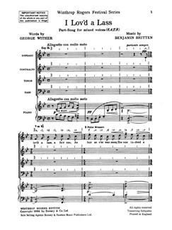 Benjamin Britten: I Lov'd A Lass Books   SATB, Piano Accompaniment
