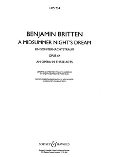 Benjamin Briitten: A Midsummer Night's Dream Op. 64 Books   Opera