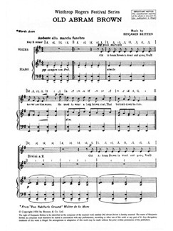 Benjamin Britten: Old Abram Brown Books | SSA, Piano Accompaniment