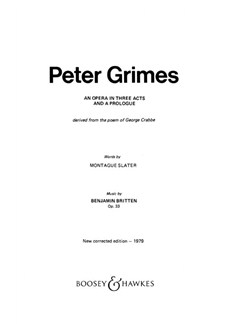 Peter Grimes Op33 Books | Libretto