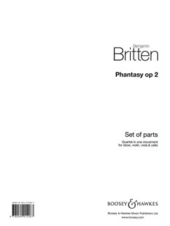 Benjamin Britten: Phantasy Quartet Op. 2 Books | Oboe, Violin, Viola, Cello