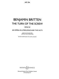 Benjamin Britten: Turn Of The Screw Op.54 (Study Score) Books | Opera