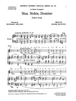 Roger Quilter: Non Nobis Domine (Unison/Piano) Books   Unison Voice, Piano Accompaniment